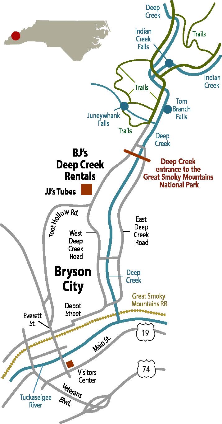 Bryson Nc Map.Bryson City Nc Smoky Mountain Vacation Rentals Deep Creek Tubing